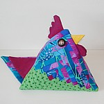 log cabin chicken triangle pouch patchwork